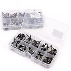 MyXL 80 Stks Hengel Gidsen Tip Set Reparatie Kit met Vis Doos Kit DIY Eye Ringen Verschillende Grootte Rvs Frames