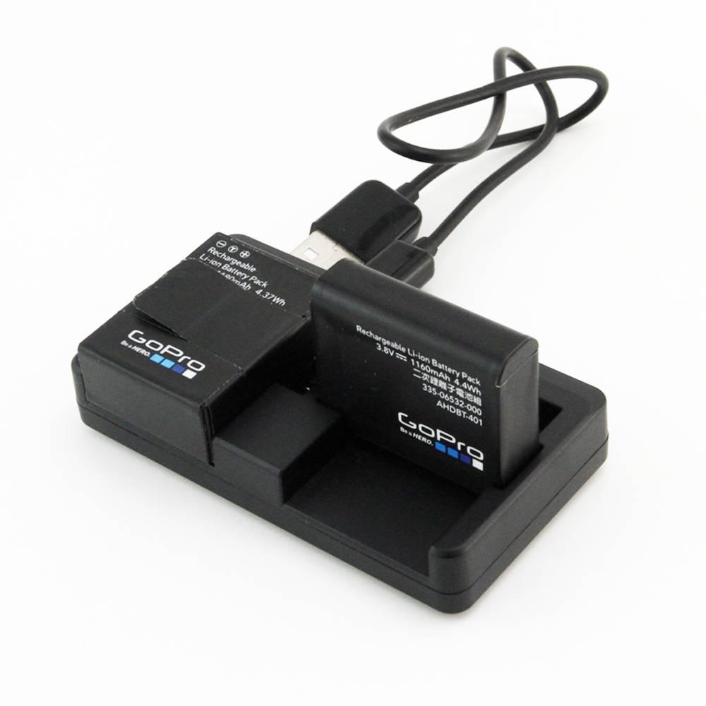 SCHIETEN Mini Draagbare Dual Port USB Batterij Oplader Voor Gopro Hero 4 3 + Hero 4 Zwarte Zilveren