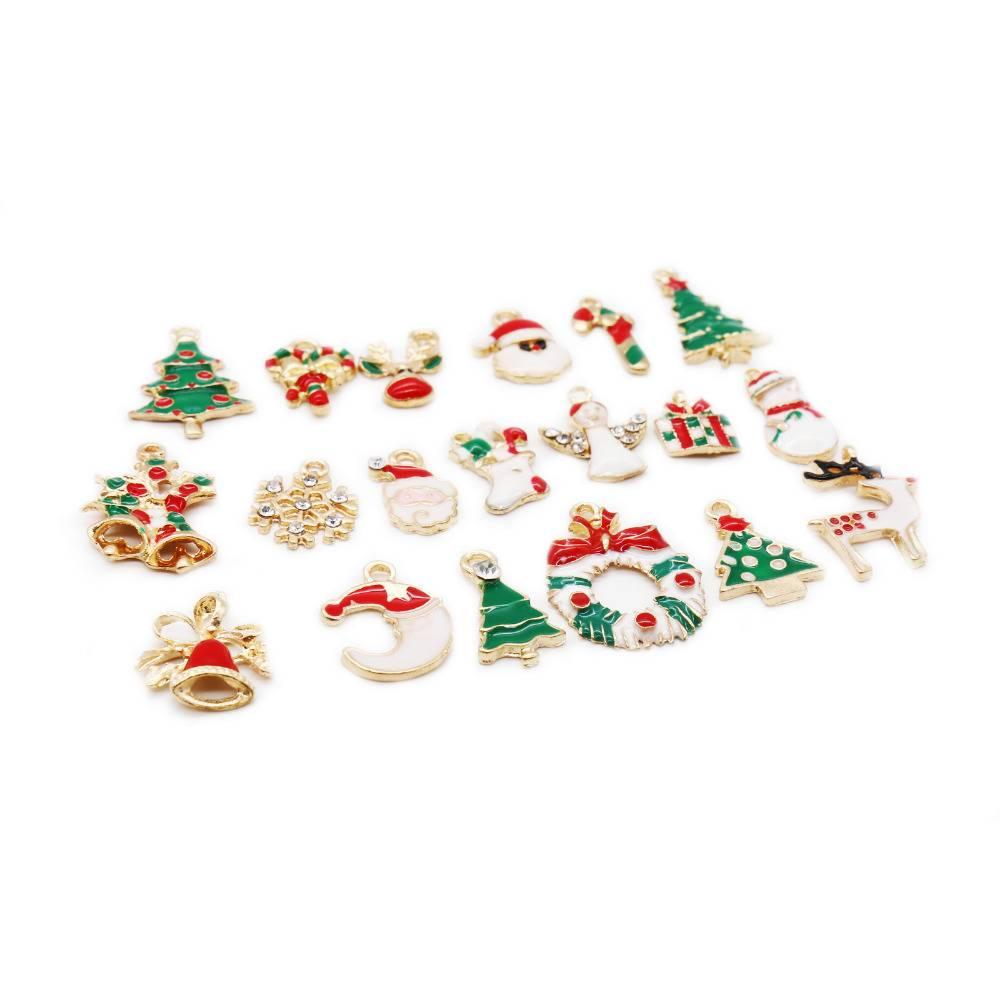 Mooie 19 STKS Gemengde Kerst Opknoping Ornamenten DIY Sieraden Hangers Xmas Kerstboom Decoratie Fest