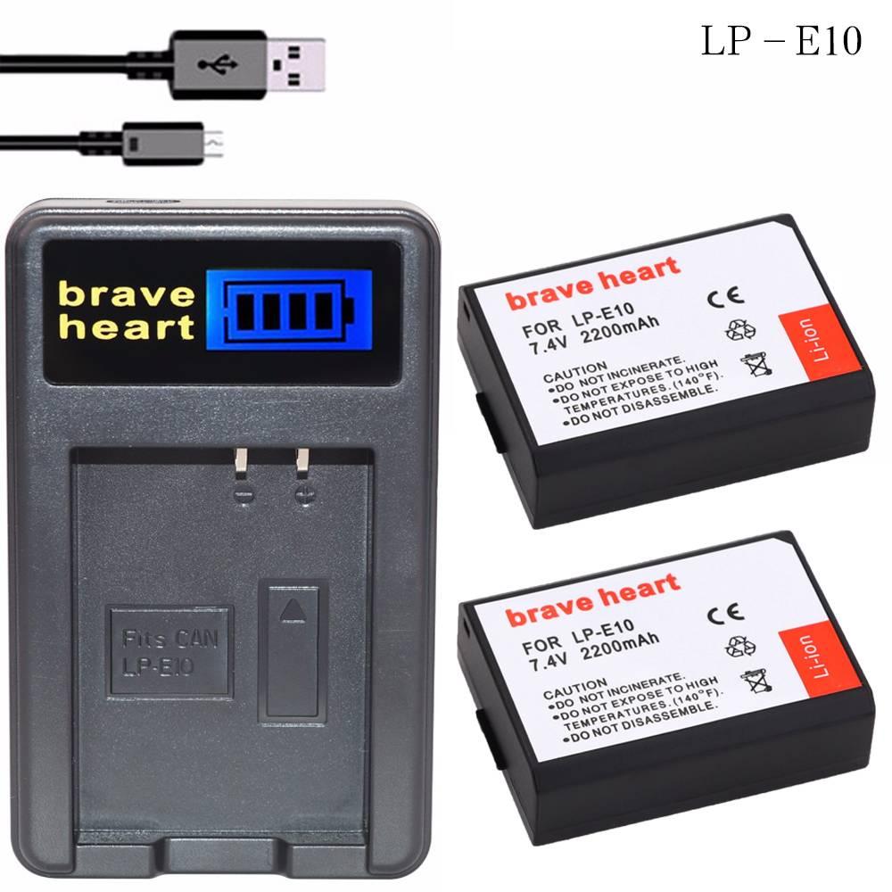 2X7.4 v bateria LP-E10 batterij lp e10 LPE10 + LCD USB oplader voor canon 1100d 1200d rebel t3 t5 ki