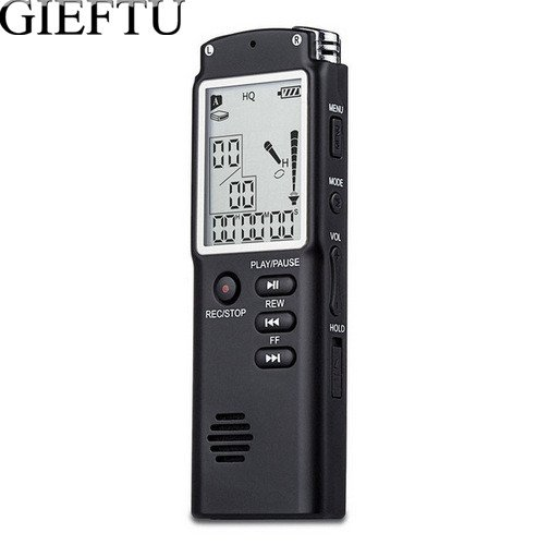 GIEFTU T60 Professionele 8 GB Tijd Display Opname Digital Voice Audio Recorder Dictafoon Mp3-speler