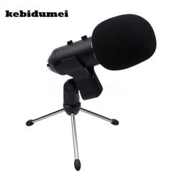 MyXL Kebidumei 3.5mm MK F100TL Radio Omroep Bedrade Microfoon USB Condensator Geluidsopname Mic met Stand voor Karaoke PC Laptop