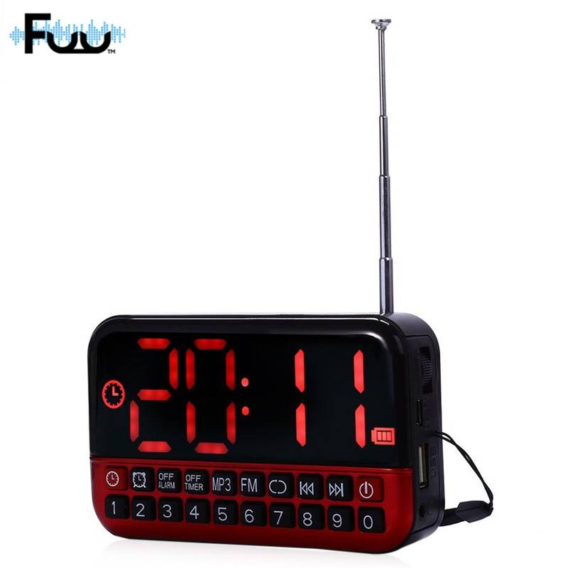 FUU L80 FM Radio Muziekspeler Stereo Tf-kaart Geklokt Usb-poort met LED Display AM-FM Mini Draagbare