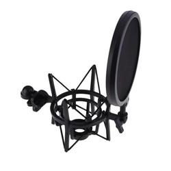 MyXL Professionele Microfoon Mic Shock Mount met Pop Shield Articulating Hoofd Ineenschuiven Hoogte Microfoon Houder Stand Beugel