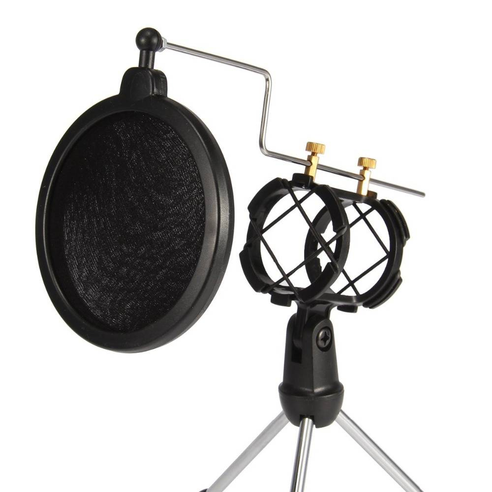 Microfoon Stand met Mesh Pop Filter voor Online Chatten-Opname-Zingen-Webcast Statief Holder iphone