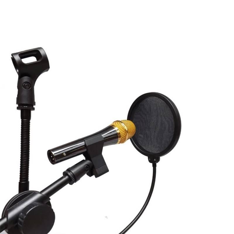 Dubbellaags Studio Microfoon Mic Wind Screen Pop Filter-Swivel Mount-Masker Teruggeschrokken Voor Sp