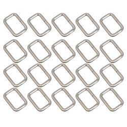 MyXL 20 stks 25mm Rechthoek Metal Dee Ring D Singels Riem Lint Gesp Riemregelaar (Zilver)