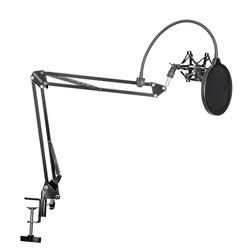 MyXL Neewer NB-35 Microfoon Scissor Arm Stand Mic Clip Holder en Tafel Montage Klem & NW Filter Voorruit Shield & Metalen Mount Kit