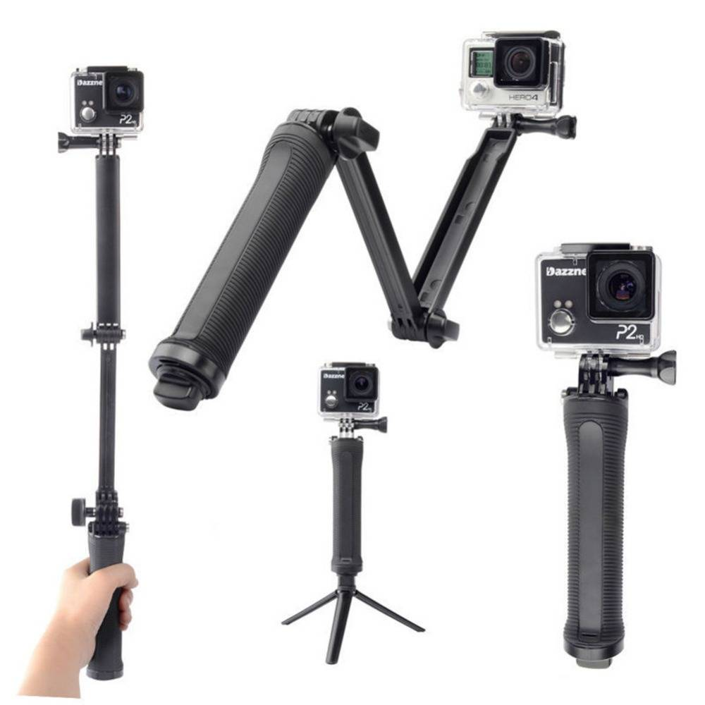 Universele action camera accessoires inklapbare 3 manier monopod mount camera grip extension arm sta