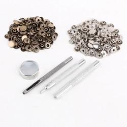 MyXL 25 stks zilver + 25 stks brons 10mm Drukknoop Metalen + tool set voor lederen handtassen