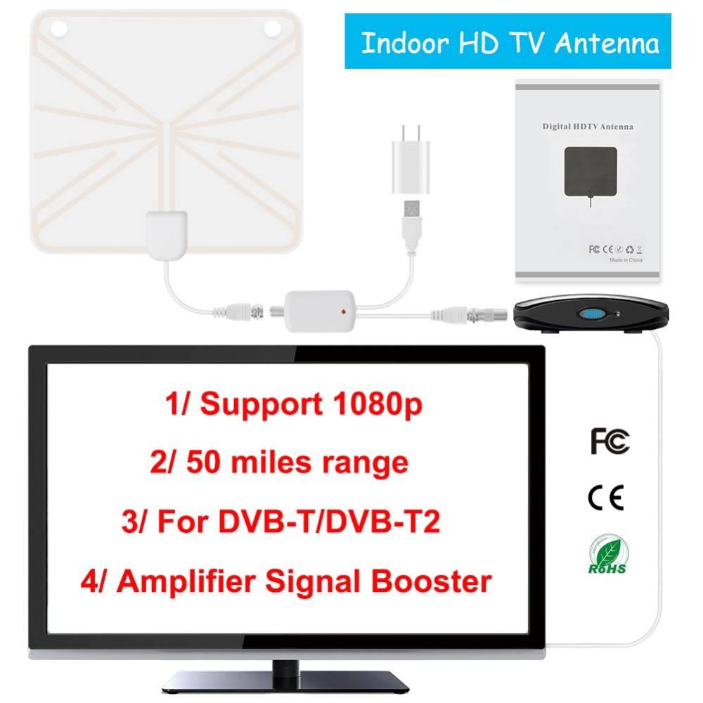 TV Antenne Indoor HD Digitale TV Antenne met 35 Mijl Lange Range Versterker HDTV Signaal Booster Ver