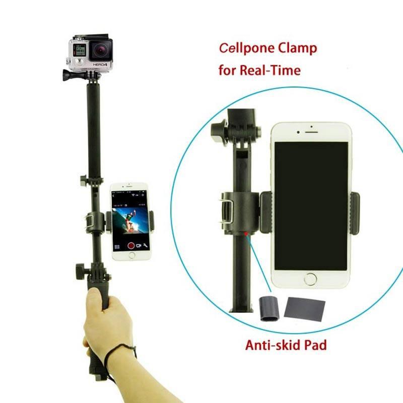 Voor Gopro Accessoires 3 manier Selfie grip arm statief met telefoon klem mount voor hero 5-4 sessie