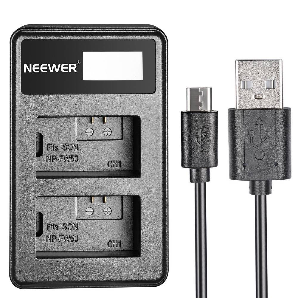 Neewer USB Dual Acculader LED Display voor Sony NP-FW50 Batterij-Sony NEX-3--5--6--7--C3--F3-SLT-A33