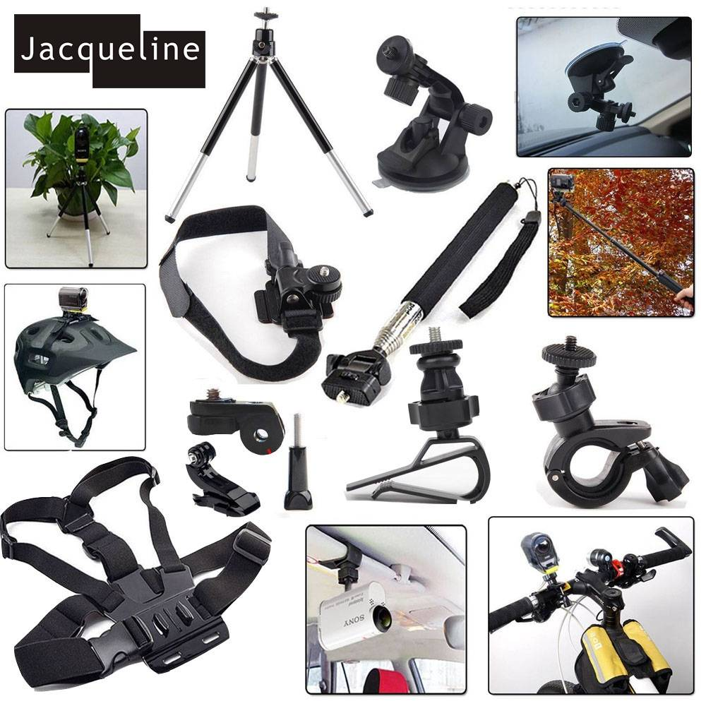 Jacqueline voor Kit Accessoires Mount Set voor Sony Action Cam HDR AS300 AS50 AS20 AS200V AS30V AS10