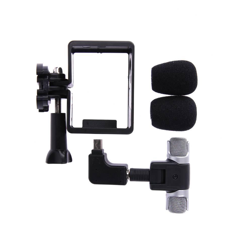 Actie Camera Side Open Behuizing Frame Case Shell Protector met Mini Microfoon Adapter Camera MIC Ki