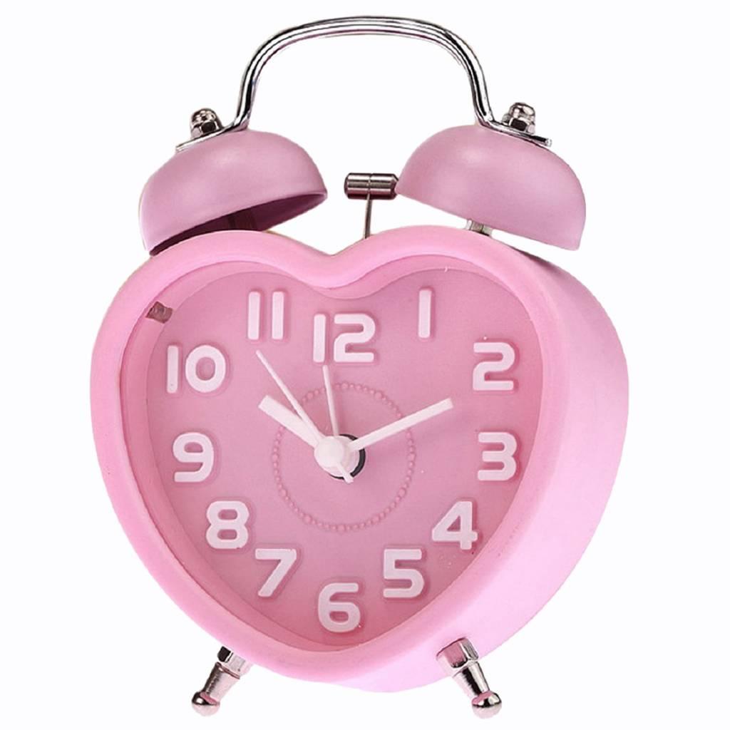 NHBR Leuke Kleine Dubbele Bel Nachtlampje Kinderen Mini Quartz Wekker Hart (Roze)