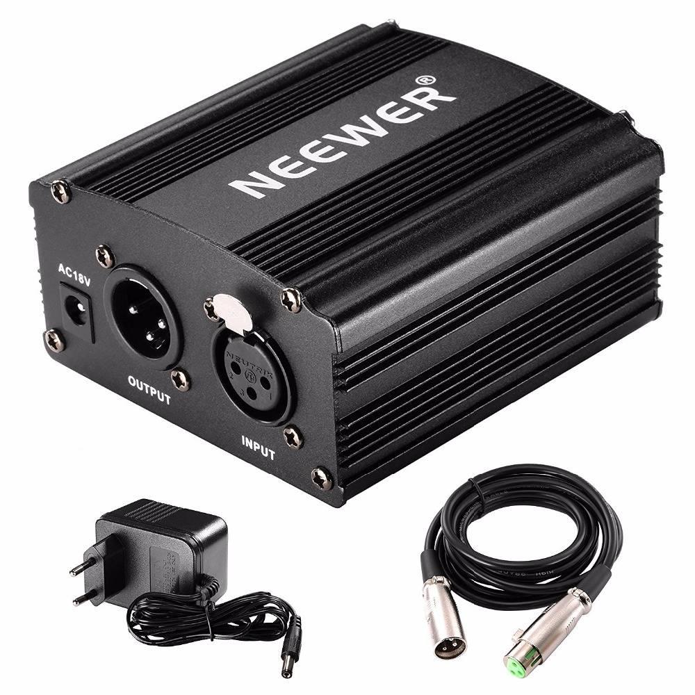 Neewer 1-Kanaals 48 V Fantoomvoeding Zwart Adapter Een XLR Audio Kabel voor Condensator Microfoon Mu