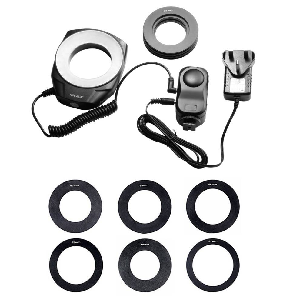 Neewer Macro Ring Led Voor Canon Sony-Pentax-Nikon-Sigma-Olympus Lens met 6 Adapter Als Godox Ring 4