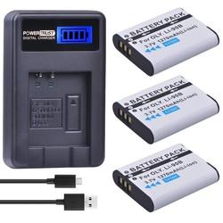 MyXL 3 Pak LI-90B LI 90B LI90B LI-92B Camera Batterij + LCD USB lader voor Olympus Tough TG-1 iHS TG-2 iHS TG-3 TG-4 SH50 iHS SH60