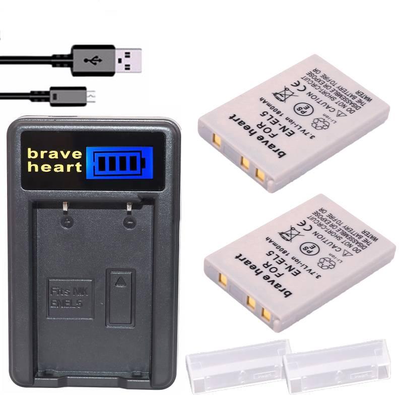 2x Bateria EN-EL5 EN EL5 ENEL5 Batterij + LCD USB Oplader Voor nikon coolpix 3700 4200 p5000 5200 59