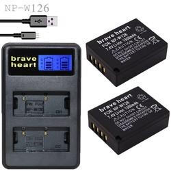 MyXL 2x bateria NP-W126 NP W126 NPW126 Batterijen + Dual USB Lader voor Fujifilm Fuji X-Pro1 XPro1 X-T1 XT1, HS30EXR HS33EXR X PRO1