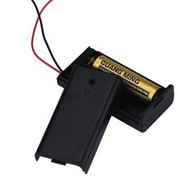 MyXL 2 x AA 3 V Zwart Batterij Houder Connector Opbergdoos Doos OP OFF Schakelaar Met Lood Draad lichtgewicht