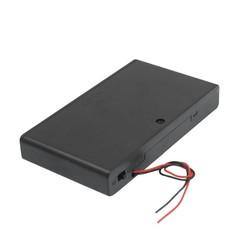 MyXL CES-Twee Draad Leidt OP/OFF Schakelaar Zwart 8x1.5 V AA Batterij Geval Houder Ingesloten Doos