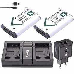MyXL 2 Stks PROBTY NP-BX1 NP BX1 Batterij + USB Dual Charger + Plug voor Sony RX100 IV WX300 H400 HX300, HDR-AS10 AS200VR CX240 PJ275