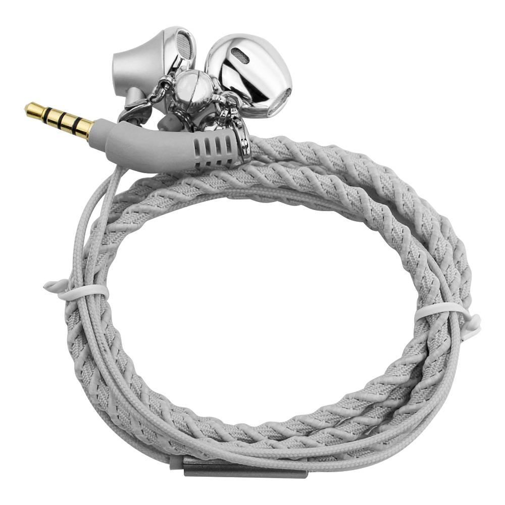 Urizons Bedrade headsets Koptelefoon voor mp3-speler Iphone Samsung LG Zilver Stof Gevlochten Armban