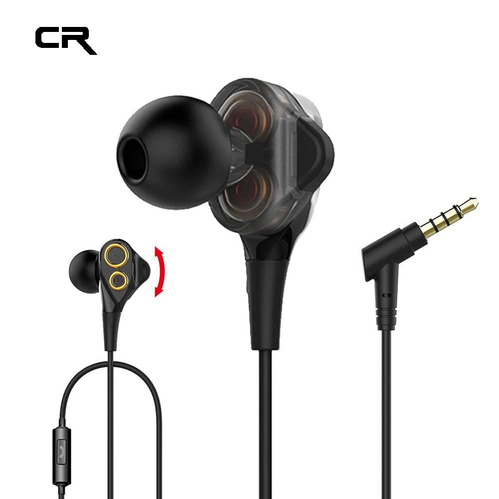 Stereo Bass Dual Drivers Hoofdtelefoon In-Ear Bedrade Koptelefoon voor Telefoon HiFi Oortjes Met Mic