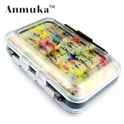 MyXL Anmuka 64 stks/sets vliegvissen lokken set Kunstmatige Insect aas forel vliegvissen haken tackle met case box