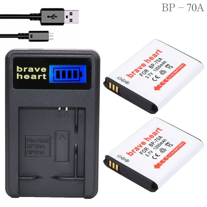 Lcd oplader 2x3.7 v 1200 mah bateria bp 70a bp-70a camera batterij voor samsung sl630 wp10 tl205 es7