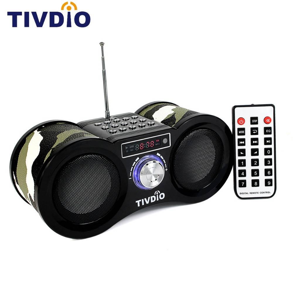 TIVDIO V-113 FM Radio Stereo Digitale Radio Ontvanger Speaker USB Disk Tf-kaart Mp3-speler Camouflag