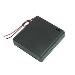 MyXL Plastic Op/Off Schakelaar 4x1.5 V AA Batterij Case Houder w Cap Zwart