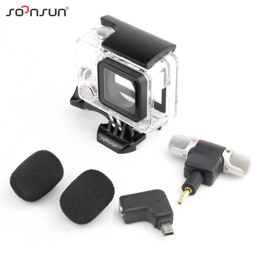 SOONSUN 3 in 1 Skeleton Side Open Behuizing Shell Case + microfoon + Microfoon Adapter voor Gopro He