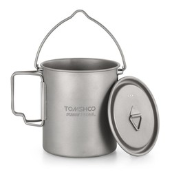 MyXL TOMSHOO 750 ml Titanium Pot Titanium Water Mok Cup met Deksel en Opvouwbare Handvat Outdoor Camping Pot Koken Potten Picknick Hangen Pot