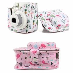 MyXL Kleurrijke Flamingo Camera Case Opbergtas Voor Fujifilm Instax Camera PU Lederen Camera Case voor Fujifilm Instax Mini 8/8 +/9