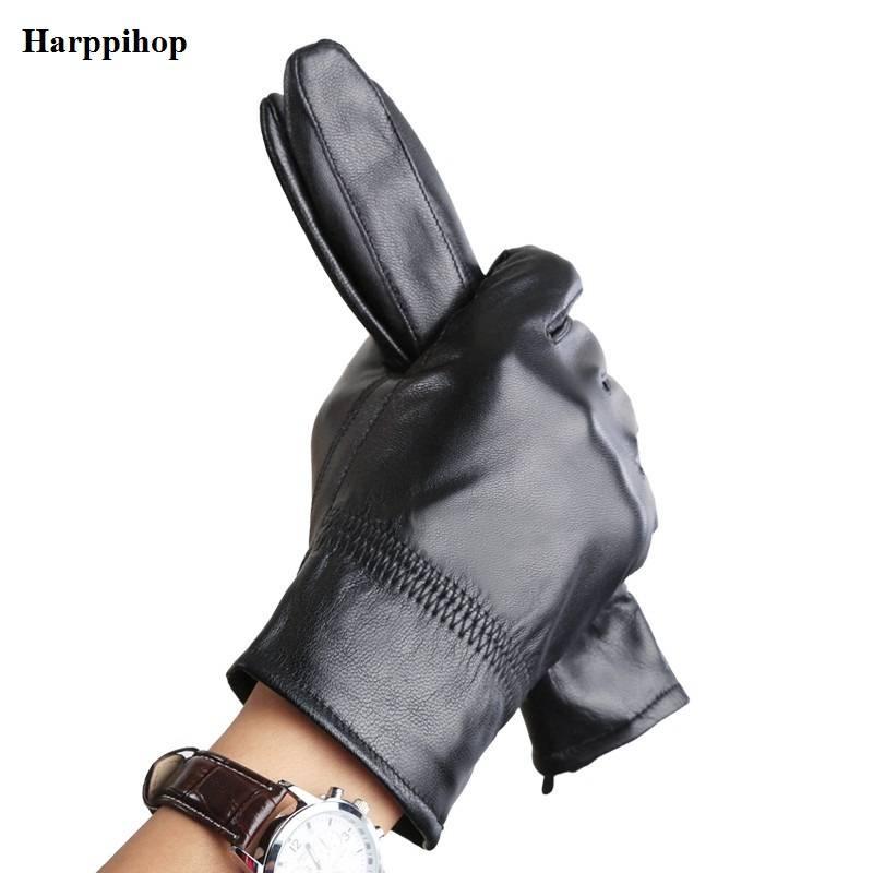 Harppihop real lederen handschoen warme winter mens handschoenen Lederen Zwart lederen handschoenen