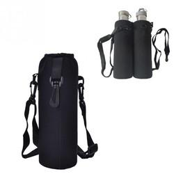 MyXL 1000 ML Waterfles Cover Bag Pouch w/Strap Neopreen Waterfles Carrier Geïsoleerde Tas Pouch Houder Schouderriem zwart