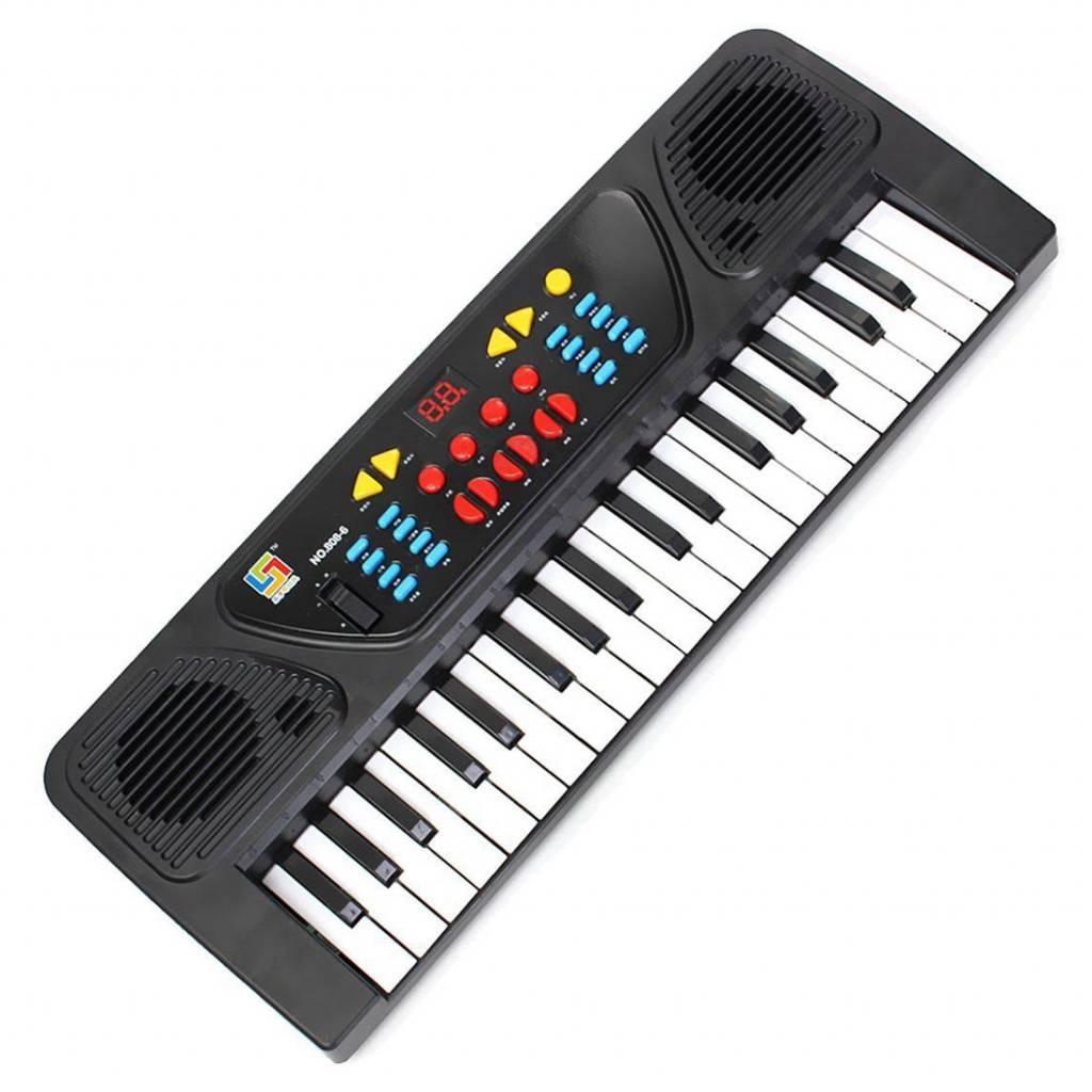 Kids Kinderen 37 Sleutel Elektronische Keyboard Piano Muzikale Speelgoed Record Microfoon Mic, zwart