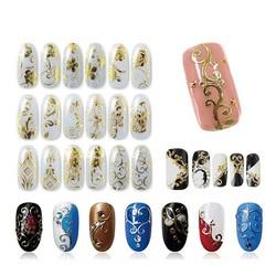 MyXL 108 Patroon/Vel Grote Maat Bronzing Nail Stickers Plakken Manicure Goud Zilver Bloemen Sticker &amp; Decal 3D Nail Art decoraties <br />  Blueness