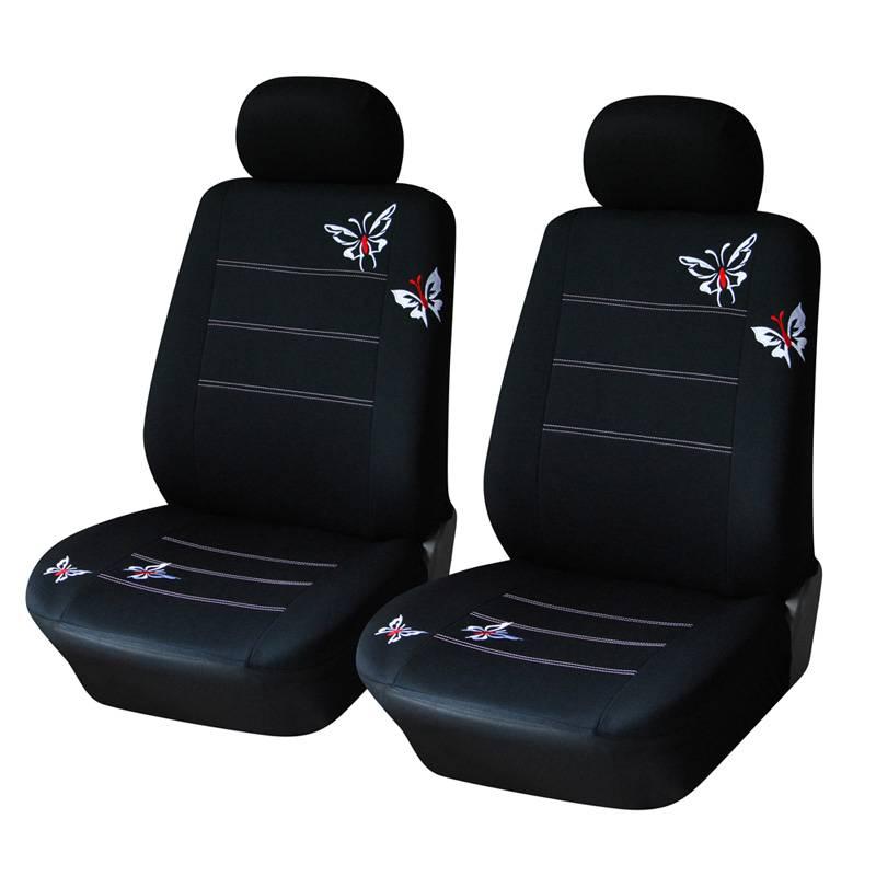 vlinder geborduurde auto bekleding universele meeste voertuigen zetels interieur accessoires zwarte stoelhoezen autoyouth