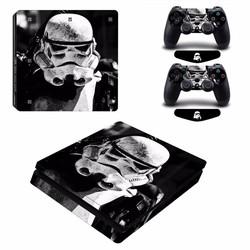 MyXL Star Wars Stormtrooper Vinyl Decal PS4 Slim Skin Sticker voor PlayStation 4 Slim Console 2 Controllers Gratis LED Licht Bar <br />  ARRKEO