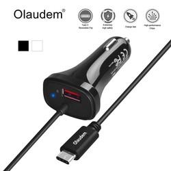 MyXL Olaudem Autolader Quick Charge QC 2.0 USB 3.1 Type-C USB Een 5 V 2.4A + USB-C 5 V 2A + 4 FT Type C Kabel voor Samsung HTC LG CG004 <br />  OLAUDEM