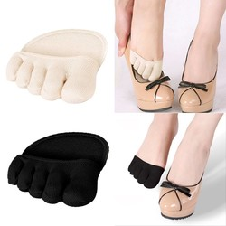 MyXL 1 Paar Katoen Vijf Tenen Sokken Half Inlegzolen Pads Kussen Voorvoet Ondersteuning Invisable Ondiepe antislip Sokken Voet Pijn Relief <br />  relcare