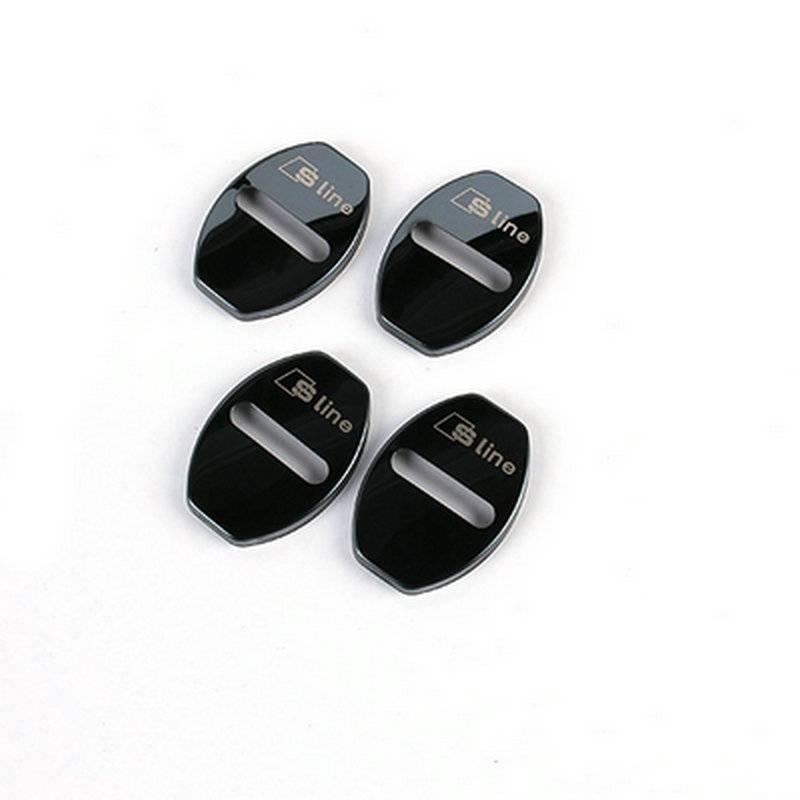 4 stks-set Rvs Sline Logo Auto Deurslot Cover Interieur Accessoires Stickers voor Audi A4 A5 A6 A7 A