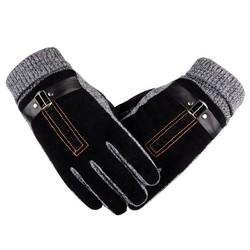 MyXL Winter mannen Warme Handschoenen Natuurlijke Suède Handschoenen Wanten Mannelijke Dikke Thermische Lederen Handschoenen Mannen Gebreide Guantes