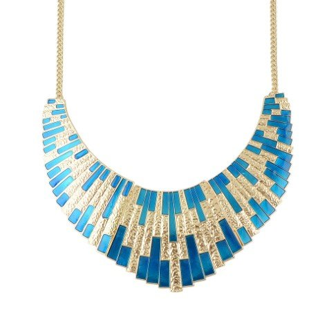 FANHUAGeometrische Choker Grote Ketting Blauw Emaille Bib Statement Ketting Mode Accessoires Collier