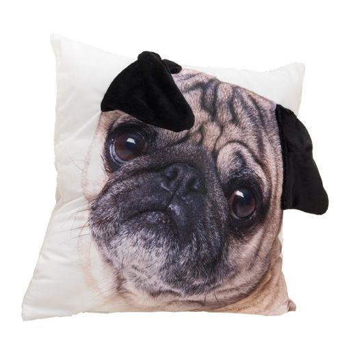 Speciale vormige Ear Leuke Pug Hond Grote Gezicht Patroon Print Custom Woondecoratie Sierkussen Case