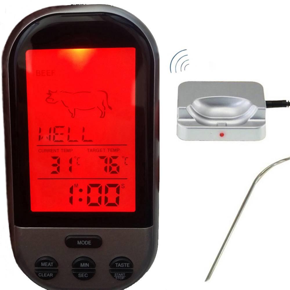 Draadloze Digitale Oven Thermometer Keuken Voedsel Koken Thermometer BBQ Grillen Roker Turkije Vlees